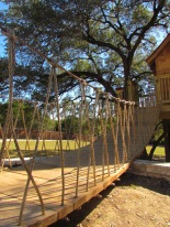 Suspended wooden slat & rope bridge